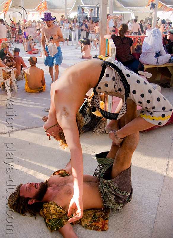 acro yoga - gabrielle - burning man 2008, acro yoga, burning man, topless, woman