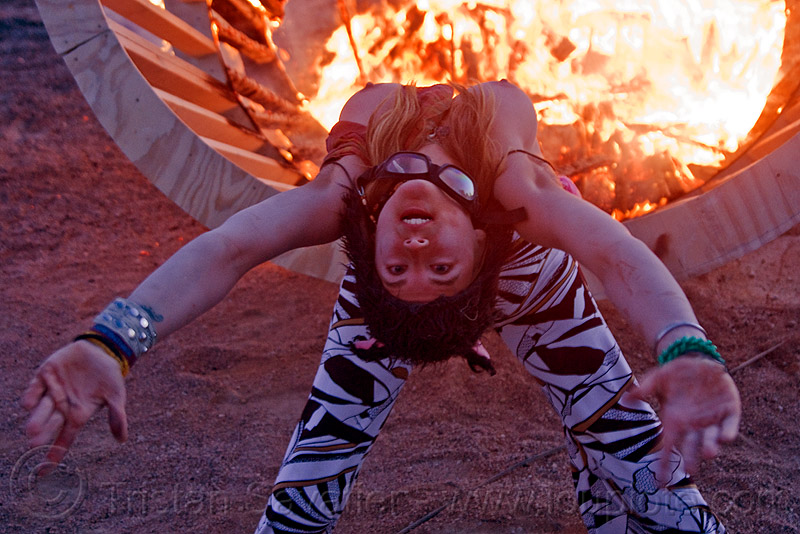 bending backward, bending backward, burning man, dancing, dusk, fire, flames, frame, heather, stretching, topless woman, wood, wooden