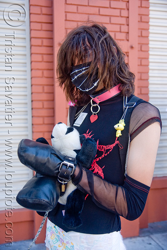 bondage costume - dore alley fair (san francisco), bondage, dore alley fair, fetish, gloves, man, restraints, stuffed panda, teddy bear