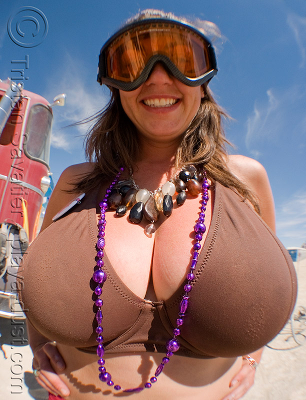 breasts, beads and goggles, burning man, fisheye, goggles, necklaces, woman