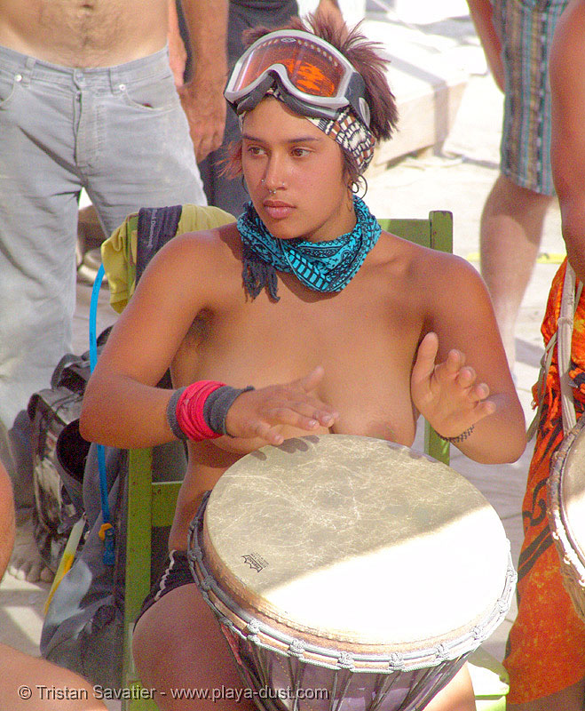 djembe drum - burning-man 2005, breasts, burning man, center camp, djembe drum, drummer, goggles, solena, topless woman