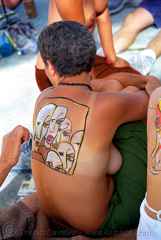 emily gets body paint by spencer - burning man 2001, body art, body paint, body painting, burning man, skin, spencer, topless, woman