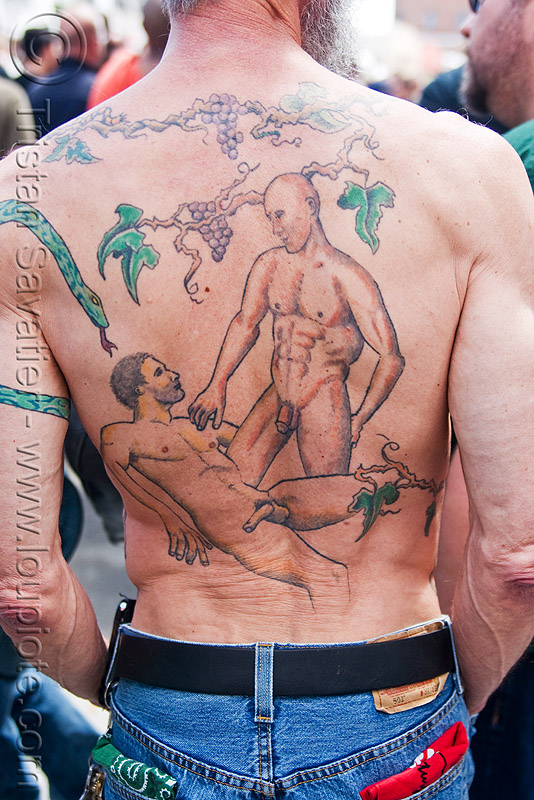 erotic back tattoo, back piece, dore alley fair, men, naked, nude, tattooed, tattoos