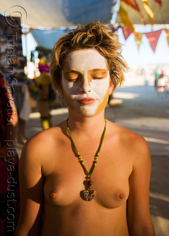 face paint - gabrielle - burning man 2008, breasts, burning man, center camp, gabrielle, makeup, topless woman