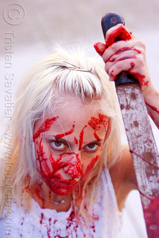 fake blood halloween makeup - young blond woman (san francisco), bleeding, blonde, fake blood, halloween, knife, machete, makeup, red, special effects, stage blood, theatrical blood, woman, zombie