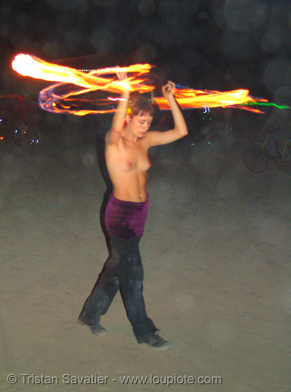 fire dancer - performer - decon - burning man 2005, burning man, fire dancer, fire dancing, fire performer, fire spinning, flames, long exposure, night, shaina, spinning fire