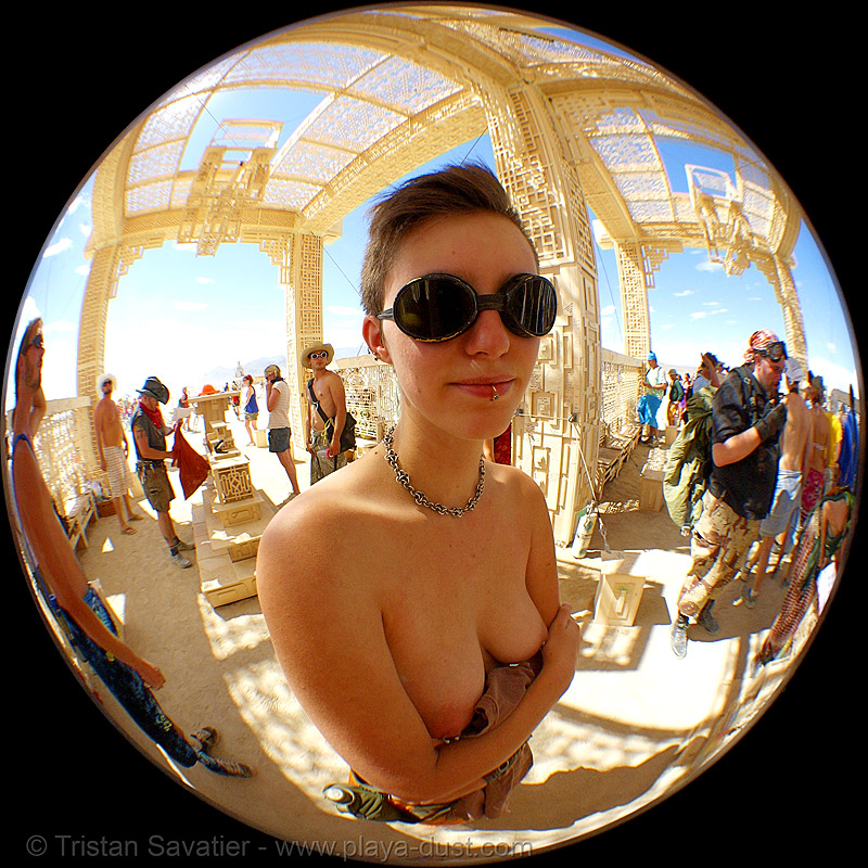 fisheye portrait in temple of forgiveness - burning man 2007, burning man, circular fisheye lens, temple of forgiveness, topless, woman
