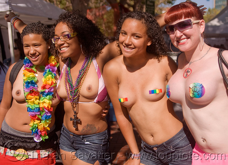 four topless girls - gay pride (san francisco), four, gay pride festival, rainbow colors, rainbow flower necklace, topless woman, women