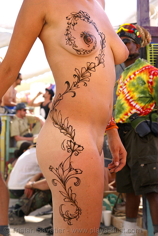 full body mehndi - henna tattoo - burning man 2007, body art, burning man, henna tattoo, mehndi designs, nude, temporary tattoo, topless, woman