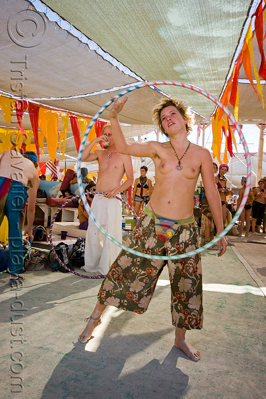 gabrielle with hula hoop - burning man 2008, burning man, hula hoop, hula hooper, hula hooping, topless, woman