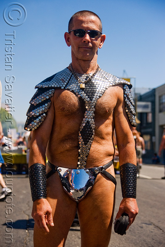 gladiator costume with metal scales - dore alley fair (san francisco), gladiator costume, iron scales, man, metal scales