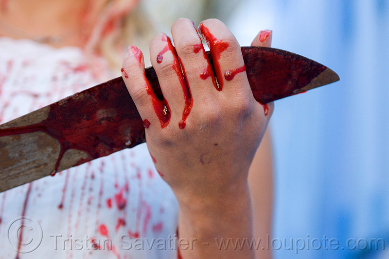 hand and knike with fake blood, blade, bleeding, bloody, fake blood, halloween, hand, knife, lusha, machete, makeup, red, special effects, stage blood, theatrical blood, woman, zombie