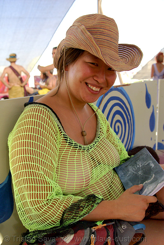 jeannie - burning man 2007, breasts, center camp, fishnet clothing, fishnet top, green, jeannie, straw hat, woman