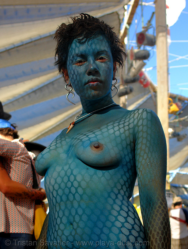 kirstin with body paint  - stencil airbrush - burning-man 2006, airbrush stencil, blue, body art, body paint, body painting, breasts, burning man, center camp, kirstin, topless woman