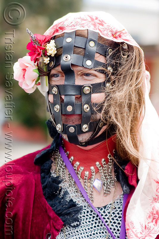 leather bondage muzzle, bondage, chainmail, dore alley fair, drag, flowers, leather, man, muzzle, sisters of perpetual indulgence