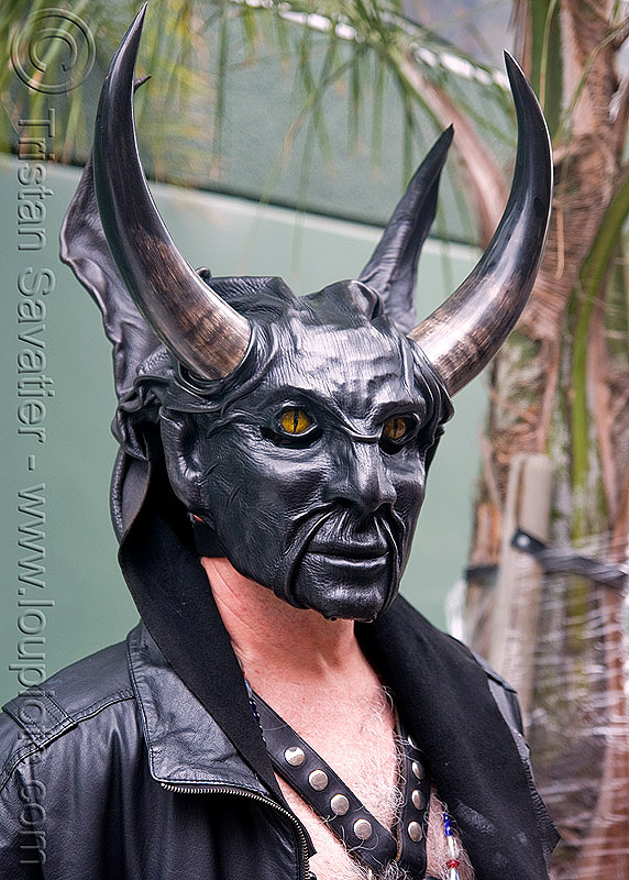 leather mask - devil - dore alley fair (san francisco), bondage, dore alley fair, fetish mask, horns, leather jacket, leather mask, the devil, theatrical mask