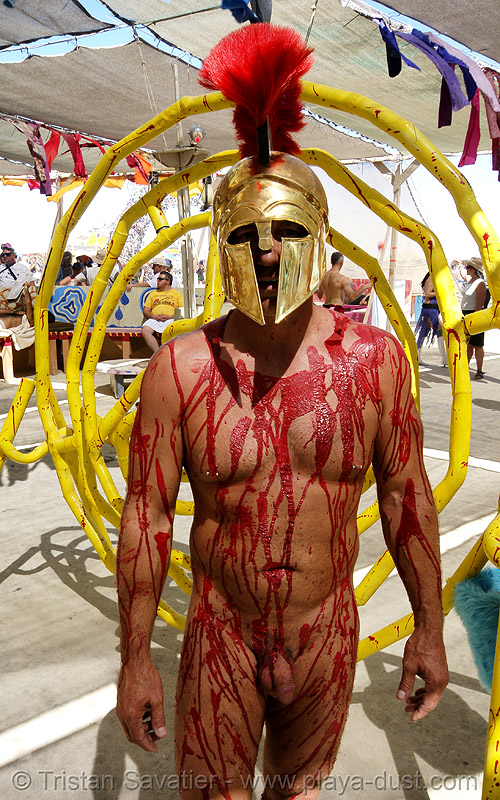 leonidas - burning man 2007, bloody, burning man, center camp, costume, fake blood, greek helmet, leonidas, naked, nude, red, stage blood, theatrical blood, theatrical helmet, warrior