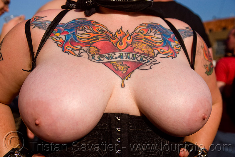 love hurts tattoo, breasts, chest tattoo, folsom street fair, love hurts, tattooed, tattoos, topless woman
