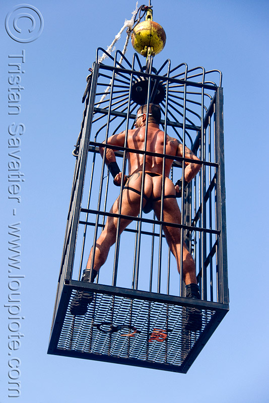 man in cage - folsom street fair 2009 (san francisco), cage, dancer, dancing, folsom street fair, man