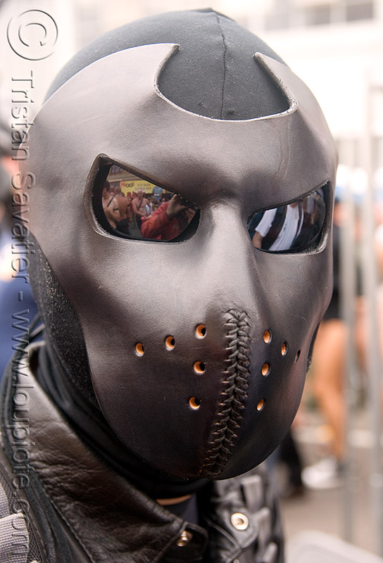 man in leather mask - dore alley fair (san francisco), bondage mask, fetish mask, leather mask