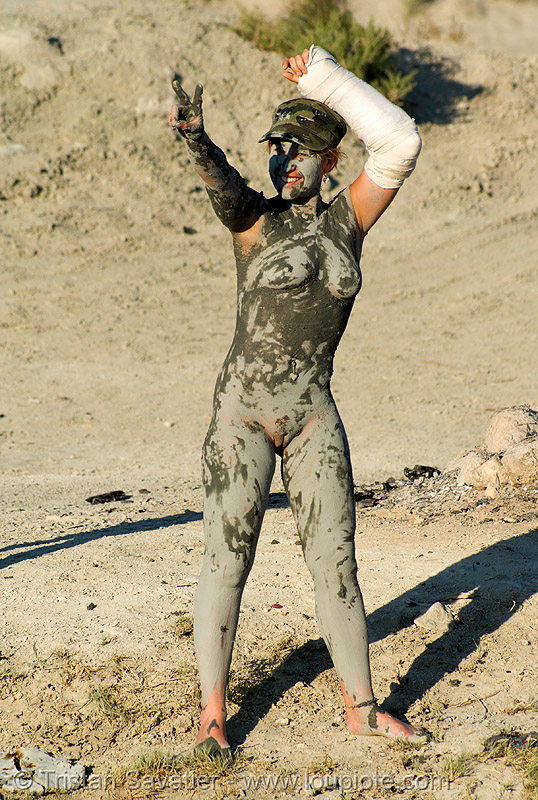 mud bath - woman (trego hot springs, black rock desert, nevada), mud bath, muddy, trego hot springs, woman