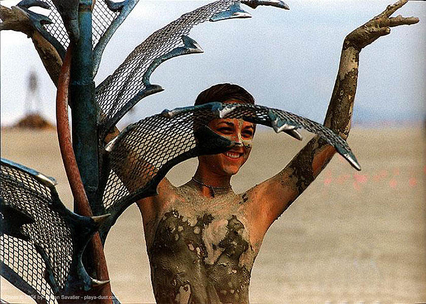 mud girl - burning-man, burning man, mud, muddy, topless, woman