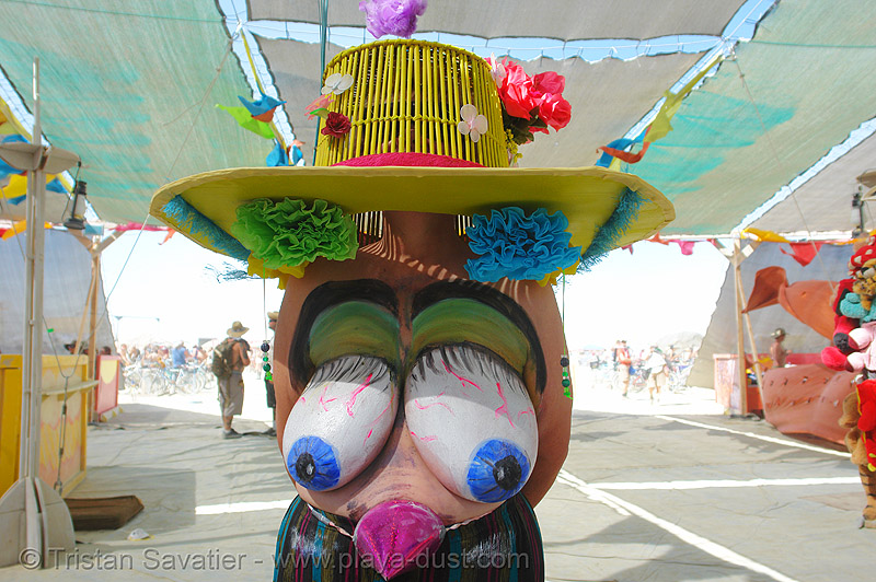 nice hat! - burning-man 2006, body art, body paint, body painting, burning man, center camp, topless woman