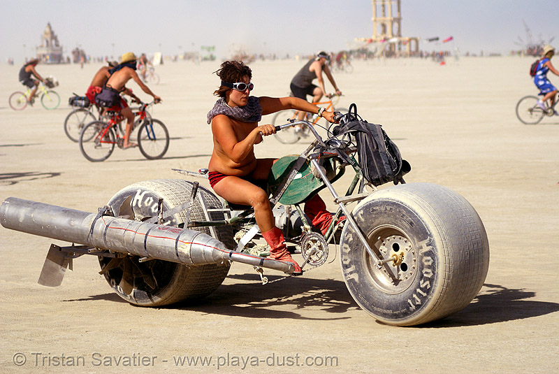 """pear county chopper"" in the critical tits - gina - burning man 2007, bicycle, bike, breasts, burning updated man festival, elliot naess, pear county chopper"
