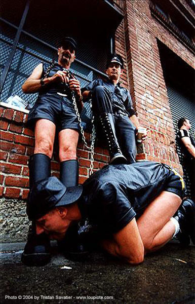 power play - boot licking - folsom street fair (san francisco), bondage, boots, costumes, fetish, leather jackets, leather pants, leather uniforms, men