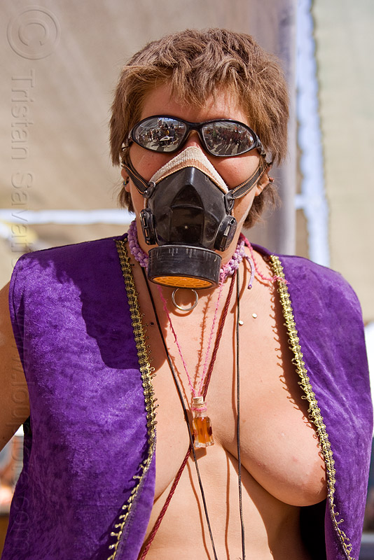 purple jacket - dust mask, burning man, dust mask, mirror sunglasses, necklace, nikola, respirator, sila, topless, woman