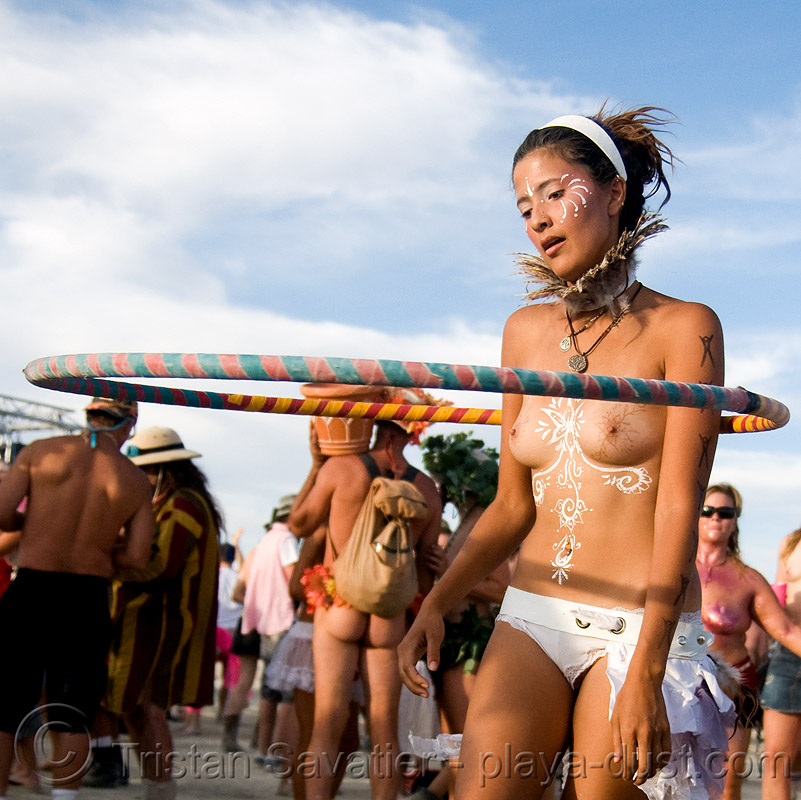siren with hula - burning man 2008, body art, body paint, body painting, burning man, hooper, hula hoop, siren, topless, woman