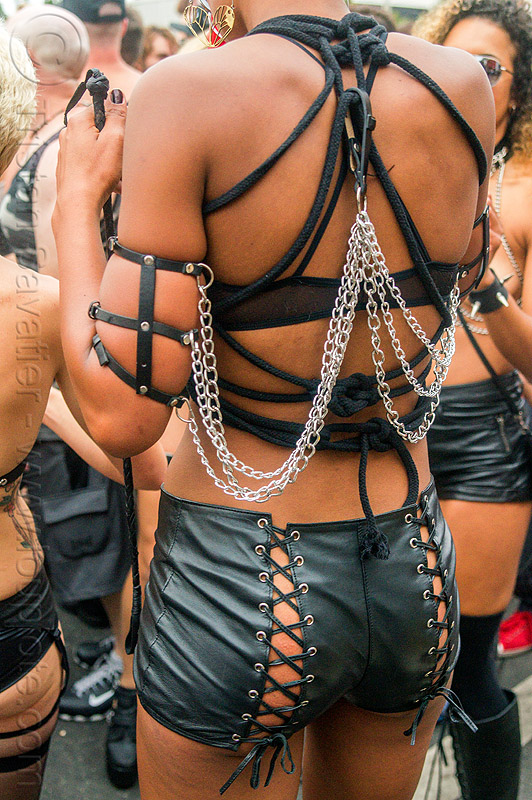 straps and chains - woman in fashion fetish outfit, chains, fashion, folsom street fair, leather, rope, straps, woman