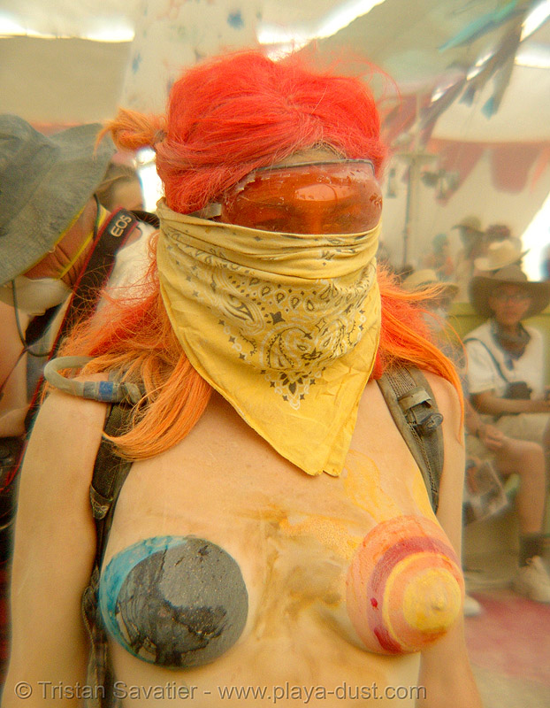 surviving the dust storm in center camp - burning man 2007, body art, body paint, body painting, burning man, dust storm, topless, woman