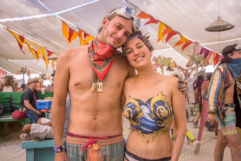 topless bodypainting - burning man 2015, bandana, body art, bodypaint, bodypainting, burning man, center camp, galaxy, goggles, justin stone, manon, stars, topless woman