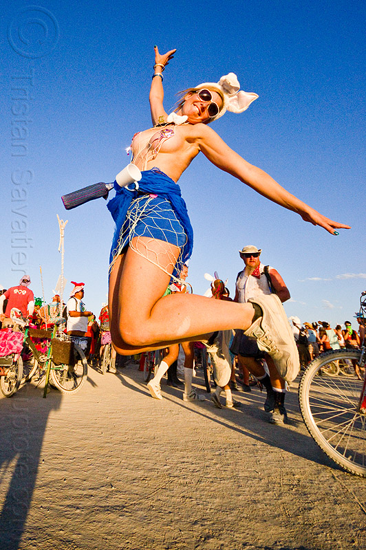 topless bunny jumping - burning man 2012, bunny march, burning man, jump, jumpshot, topless, woman