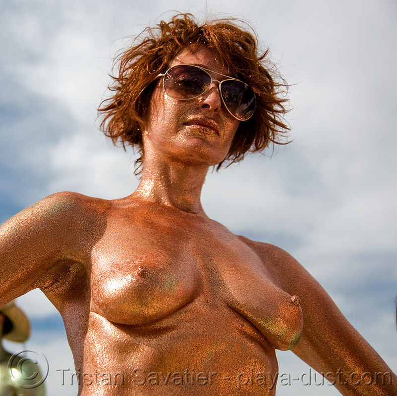 topless woman in glittery body painting - burning man 2008, body art, body paint, body painting, burning man, glittery, sunglasses, topless, woman