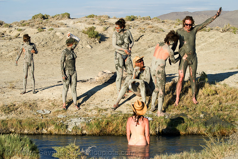 trego hot springs (black rock desert, nevada), mud, mud bath, muddy, people