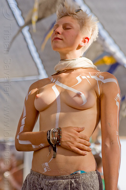 white bodypainting - burning man 2013, angelica, blonde, body art, bodypaint, bodypainting, breasts, burning man, center camp, eyes closed, topless woman, white marker pen