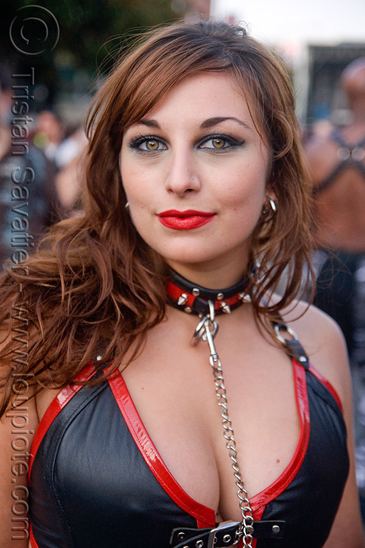woman - red and black - folsom street fair 2009 (san francisco), chain, collar, jade, red, woman