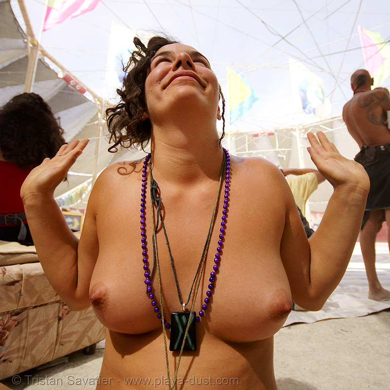 woman with beads and necklaces - corine - burning man 2007, burning man, corine, topless, woman