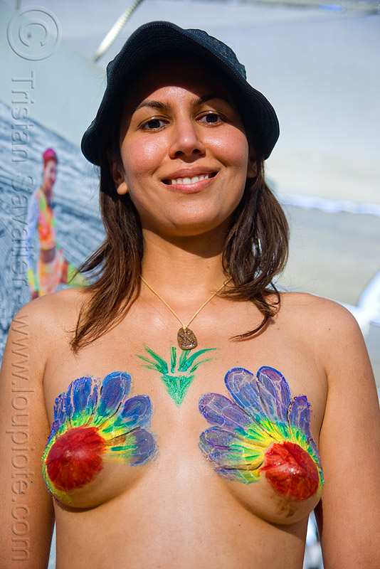 woman with body painting in center camp cafe - burning man 2009, body art, body paint, body painting, burning man, woman