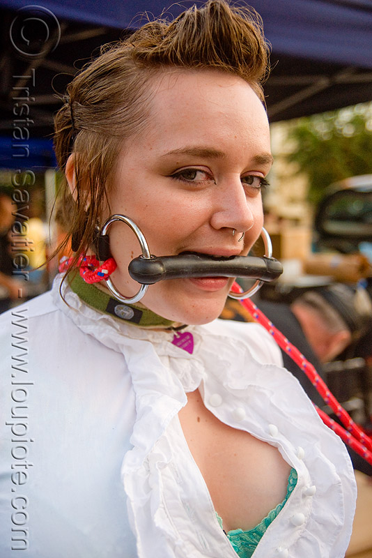 woman with horse bit gag - folsom street fair (san francisco), bondage, horse bit, woman