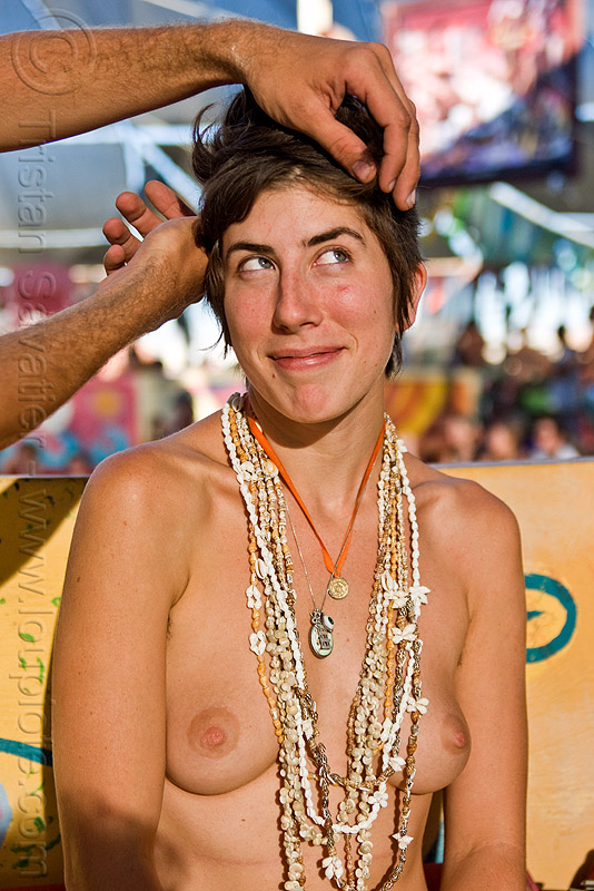 woman with seashell necklaces - burning man 2010, breast, burning man, cathryn, center camp, seashell necklaces, topless woman
