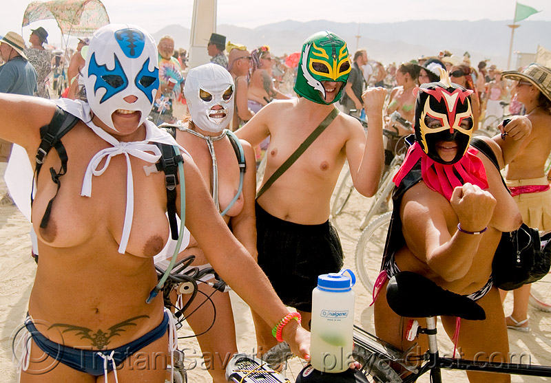 wrestlers - burning man 2008, breasts, burning man, masked, topless woman, women wrestling, wrestler masks