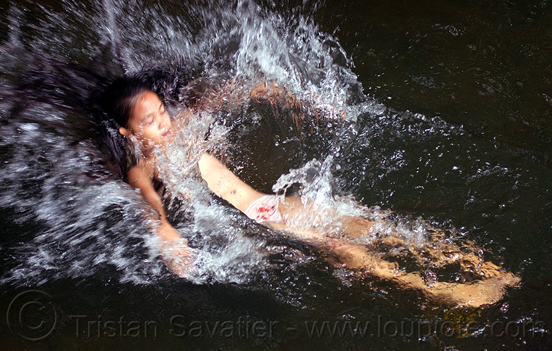 young girl splashing in river, bath, borneo, child, kid, little girl, malaysia, playing, river bathing, splash, splashing, swimming