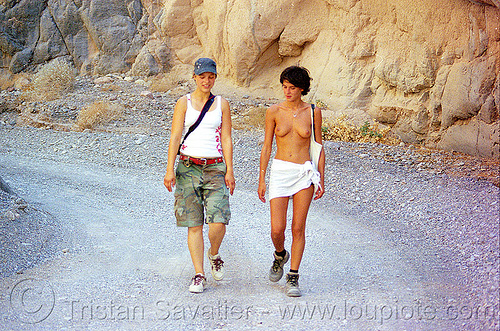 anke and alex hiking in death valley, burning man, death valley, dirt road, hiking, neon, the man, titus canyon, topless, unpaved, women