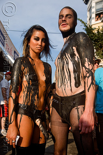 black latex body painting - folsom street fair 2009 (san francisco), black latex, black paint, body art, body painting, couple, folsom street fair, latex body paint, latex paint, man, topless woman