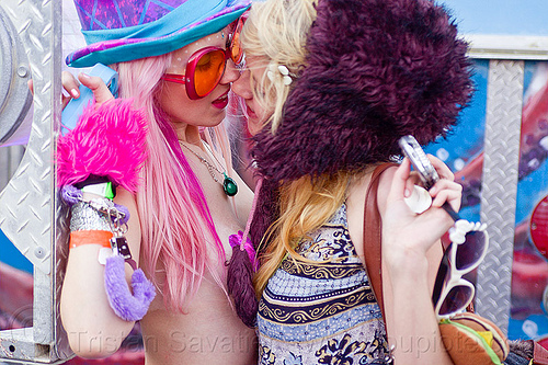blonde girls making out, blondes, fashion, fuzzy, hand cuffs, making out, pink, purple, ravers, sensuality, sunglasses, tamra, women