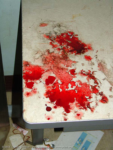 blood - table - abandoned hospital (presidio, san francisco) - phsh, abandoned building, abandoned hospital, blood, creepy, crime scene, gore, gory, horror, presidio hospital, presidio landmark apartments, red, spooky, trespassing
