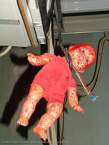 bloody-doll-voodoo - hanging - abandoned hospital (presidio, san francisco) - phsh, abandoned building, abandoned hospital, baby doll, blood, creepy, dark humor, dark humour, dead baby, death, evil, found art, gore, gory, hanging, hitchcock, horror, presidio hospital, presidio landmark apartments, red, spooky, trespassing, voodoo